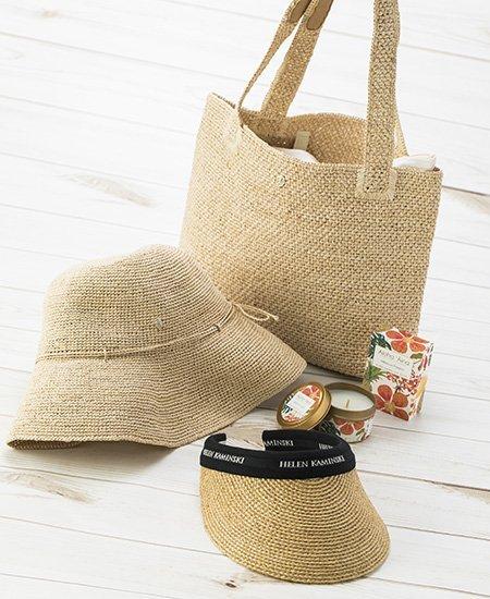 beige weave Helen Kaminsky visor, hat, and bag