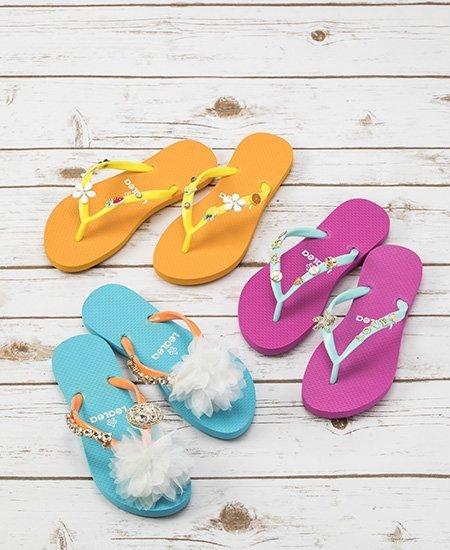 orange, pink, and blue custom beach flip flops by LeaLea Market Originals