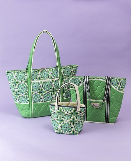 three light green quilted fashionable handbags by Royal Selection