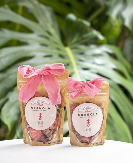locally-made granola bags with pink bows
