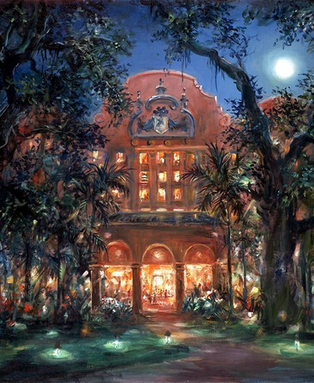 painting of The Royal Hawaiian Hotel under a full moon by Eva Makk