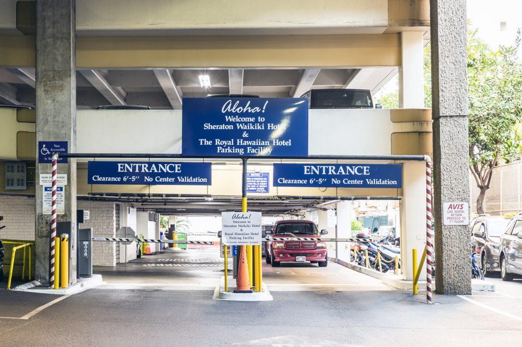 self parking entrance at the Sheraton Waikiki