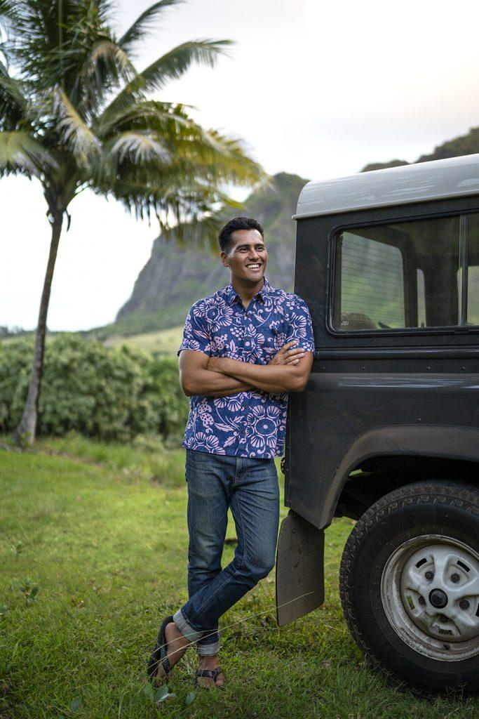 blue Kahala aloha shirt on a male model